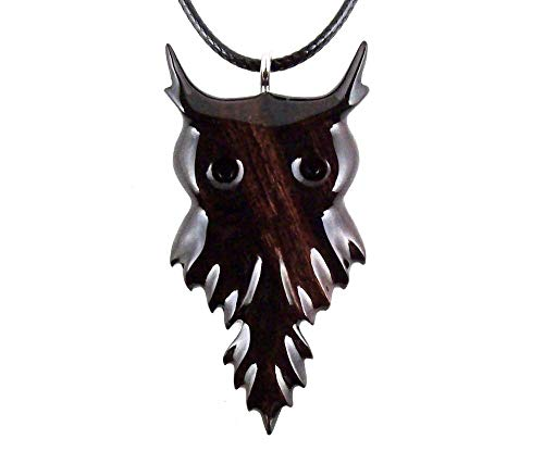 Owl Pendant Necklace Totem Bird Jewelry Hand Carved in Desert ()