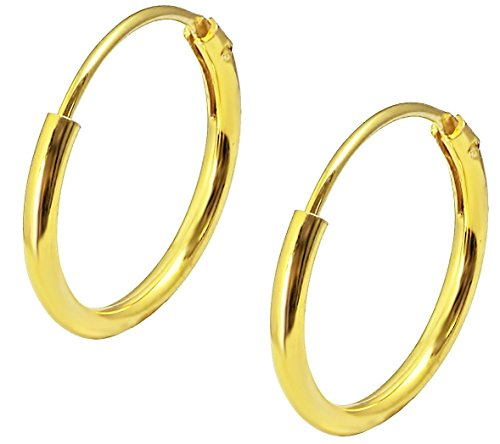 18k Yellow Gold Plated Sterling Silver 1/2 Hoop Earrings for Kids