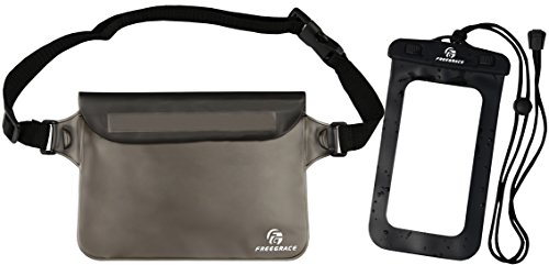 Freegrace Waterproof Pouch with Waist Strap, Elegant Black