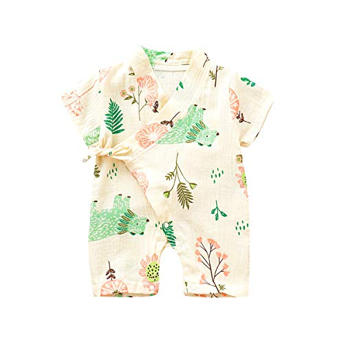 YOUNGER TREE Kimono Newborn Cotton Yarn Robe Infant Baby Japanese Pajamas Romper Easter Bunny Clothes (12-18 Months, Bear)