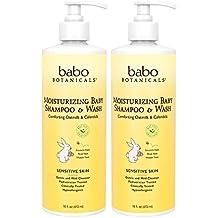 Babo Botanicals Babo Botanicals Moisturizing Baby Shampoo and Wash, Oatmilk Calendula, 2-Count, 16 Fl oz.