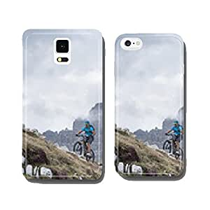 mountainbike uphill with dolomite background cell phone cover case Samsung S5