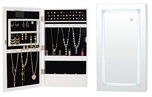 (Fineboard FB-JC11-W LED Cabinet Wall Mounted with Mirror Jewelry Organizer, White)