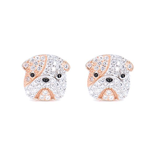 Rhodium Plated Sterling Silver Bulldog Stud Earrings CZ Studs for Women Girls