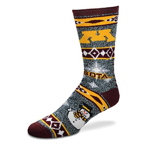 - For Bare Feet NCAA Ugly Christmas Holiday Snowman Socks-Minnesota Golden Gophers-Large