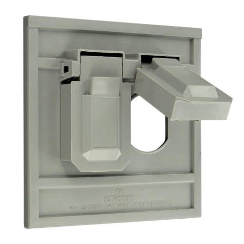 Leviton 4986-GY 1-Gang Duplex Device Wallplate Cover, Oversize, Weather-Resistant, Thermoplastic, Device Mount, Horizontal, ()