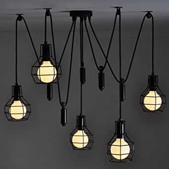hua 5 Light Pulley Cage Shade Pendant Lighting in Black