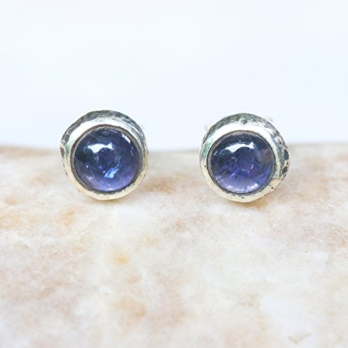 - Round cabochon Iolite earrings in silver bezel setting with sterling silver post and backing