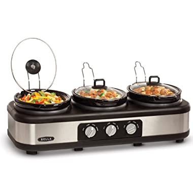 BELLA 13576 2.5QT Triple Slow Cooker with Lid Rests, Stainless Steel