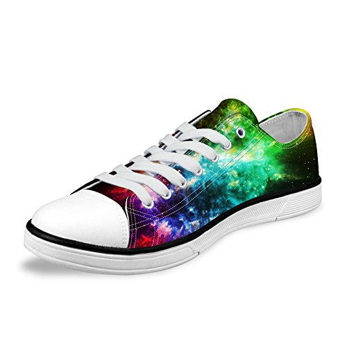 FOR U DESIGNS Stylish Unisex Galaxy Print Canvas Fashion Sneaker Casual Lace-up Low Top Flat Shoes Galaxy A3 Vs9z8wCf5