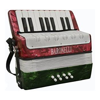 Baronelli Red/White/Green Beginner Educational 17 Key Junior Accordion with adjustable Straps, & DirectlyCheap(TM) Translucent Blue Medium Pick