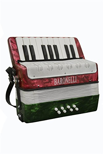 Baronelli Red, White and Green Beginner Educational 17 Key Junior Accordion with adjustable Straps, & DirectlyCheap(TM) Translucent Blue Medium Pick (ACPK-1)