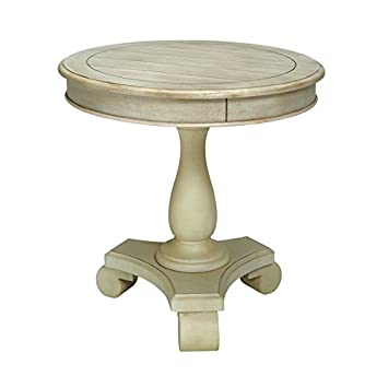 Furniture Of America Jackson Round Pedestal End Table In Antique White