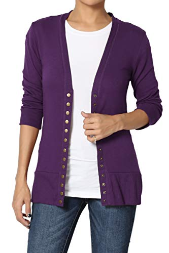 TheMogan Women's Snap Button V-Neck 3/4 Sleeve Layering Knit Cardigan Dark Purple 1XL