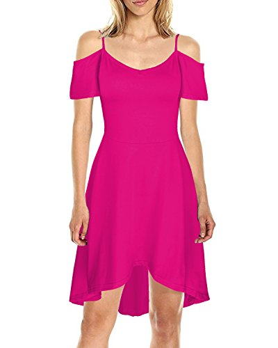 Kilig Women's Cold Shoulder Puff Sleeve Strap Casual Cotton Summer Dress(Rose, M)  (Puff Shoulder Dress)