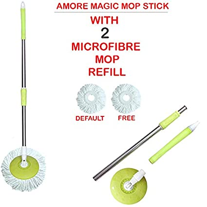 Amore Stainless Steel 360° Spin Cleaning Mop Rod Stick Set with Free Mop Refill Pocha (Color May Vary)