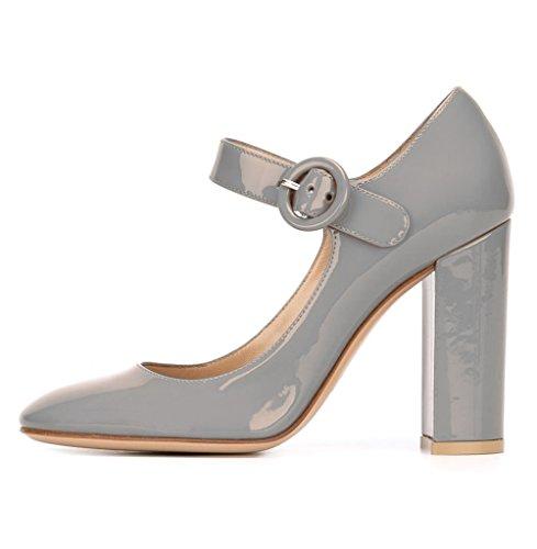 Mariee Mariage Cheville Rond Mary Bride Femme Escarpins Talon Chaussures De A Boucle Gris Janes Pompes Bout Edefs 6wqZCtn