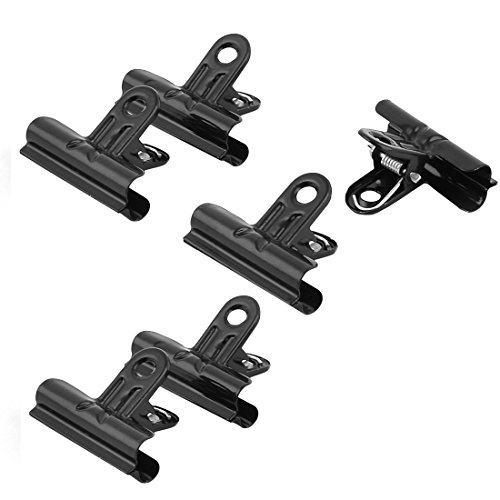 uxcell Metal Stationery Spring Loaded File Ticket Binder Clips Bulldog Clip 6pcs Black (Metal Clips Black)