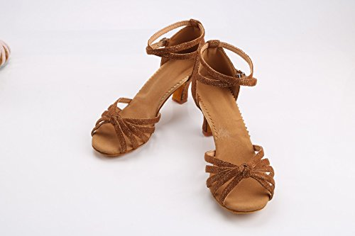ShangYi Latin dance shoes female adult soft bottom high heels dance shoes precisely dance shoes Ms. Latin shoes with heel, with height 5cm copper