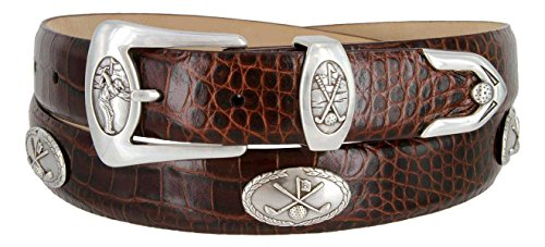 BC3109 - Men's Italian Calfskin Designer Dress Belt with Golf Conchos (34 Alligator Brown)