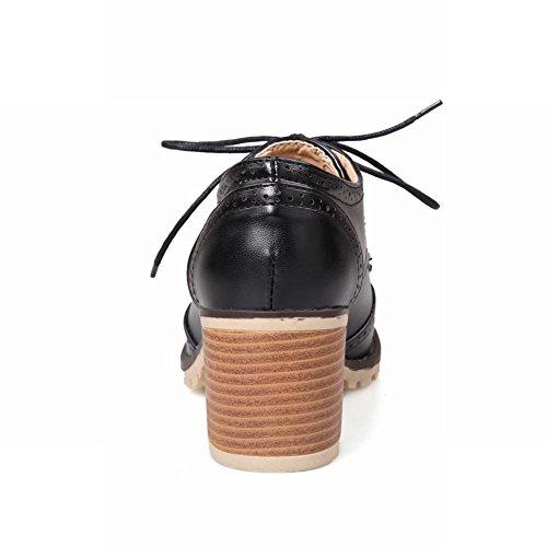 Show Women's Fashion Oxfords Shine Heel Black Chunky Shoes rrUxHvq7w