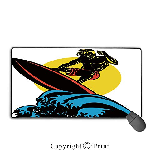 Game speed version medium cloth mouse pad,Ride The Wave,Dude Surfing the Big Waves in Ocean Exotic Sports Sea Beach Hobby Graphic Art Decorative,Multicolor, Non-slip rubber base Mouse pad with lock,15