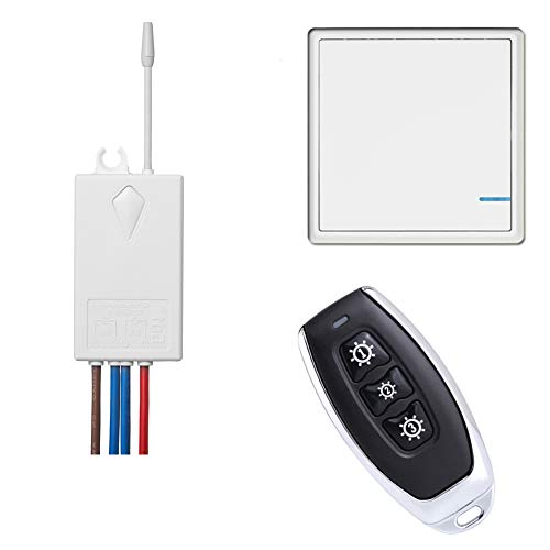 Basic Wireless light Switch Kit with 1 Remote 1 Push Button Panel & 1 Receiver, Perfect Solution for Adding or relocating Ceiling/Light/Outdoor Wireless Christmas Lights Switch