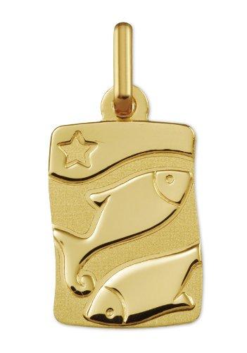 www.diamants-perles.com - Médaille Zodiaque - Or jaune 750/1000 - POISSONS