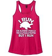 Comical Shirt Ladies I Run I'm Slower Than Herd Turtles In Peanut