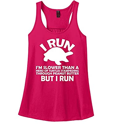 Comical Shirt Ladies I Run I'm Slower Than Herd Turtles In Peanut