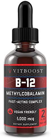 VitBoost Vegan Liquid B-12 Drops – 60 x 5000 mcg Extra Strength Raspberry Flavored Vitamin B12 Liquid Methylcobalamin sublingual Supplement | Designed to Maximize Absorption & Energy | Gluten Free