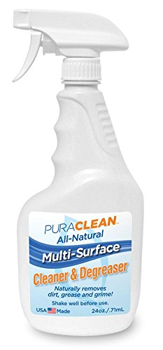 Cleaner Degreaser Natural (Pura Naturals Multi Surface Cleaner & Bio Degreaser Spray. Half Liquid, Half Grime Fighting Super Cleaner (Shake to Mix) All Purpose Cleaner Any Household Surface. 24 oz. (2 Pack))