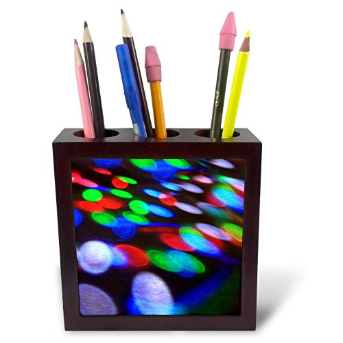 3dRose Stamp City - Miscellaneous - Photograph of Lights from a DJ Booth Dancing on The Ground. - 5 inch Tile Pen Holder (ph_295259_1)
