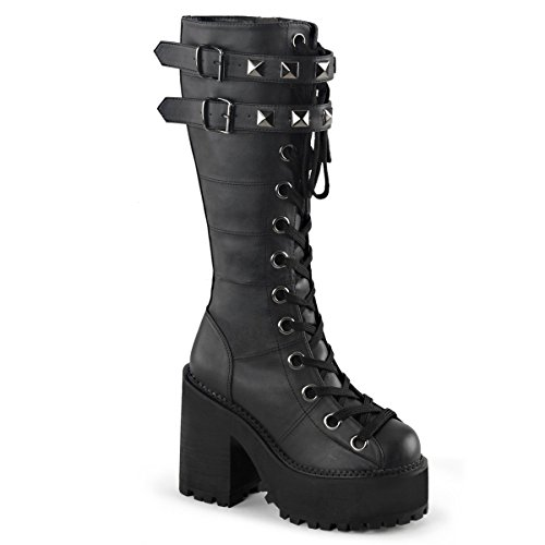 Demonia ASSAULT-202 Womens Boot, Blk Vegan Leather, Size - 10
