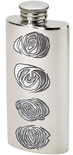 Pocket- Purse Pewter Flask 3oz Charles Rennie Mackintosh Design Ideal For Sporrans and Hand Bags