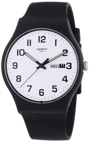 Swatch Twice Again White Dial Plastic Silicone Quartz Unisex Watch - Men Swatch For