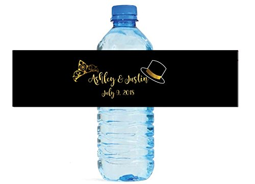 100 Top Hats & Tiara's Custom Wedding Birthday Anniversary Water Bottle Labels Great for your special occasions -
