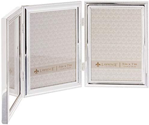 Lawrence Frames Hinged Triple (Vertical) Metal Picture Frame Silver-Plate with Delicate Beading, 5 by 7-Inch