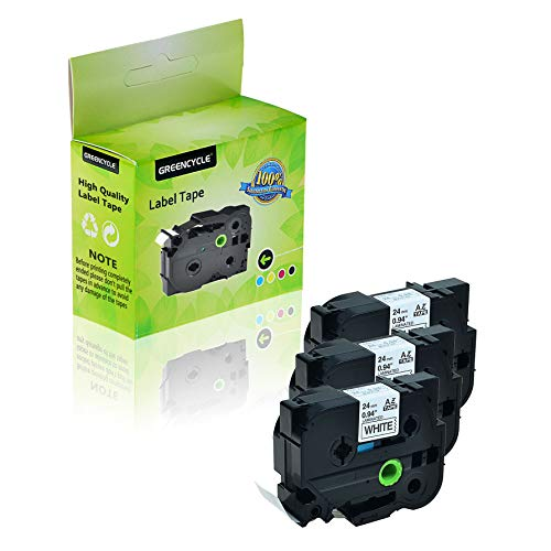 GREENCYCLE 3-Pack Compatible 1 Inch 24mm Black on White Cassettes TZe251 TZe-251 TZ-251 TZ251 Standard Laminated Label Tape for Brother P Touch PTD600 PTP750W PTP700 PTE500 PT1400 Label Makers