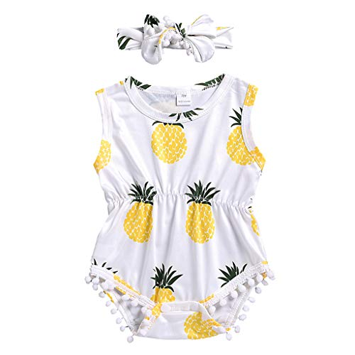 Waymine Infant Girl Boy Sleeveless Pineapple Print Tassel Romper+Headband Outfits Set