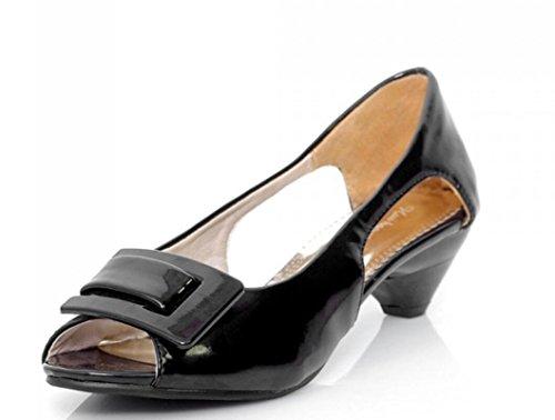 Señoras Sandalias Hebilla Patrones NVLXIE el Calzan del black Colores Sandalias Huecos los Las Las Cuadrado Múltiples la Patente de del de los de 43 3cm Verano 31 de la Trabajo vvwOaBtnq