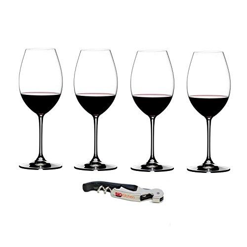 Riedel Vinum XL Leaded Crystal Syrah/Shiraz Wine Glass Set, Buy 3 Get 4 with Bonus BigKitchen Waiter's Corkscrew
