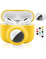 2 in 1 Silicone Protective Skin Cover Compatible with AirPods Pro and AirTag, Soft Comprehensive Protective Case with 2 PCS TPU Screen Protector, Anti-Scratch Anti-Fall Anti-Lost(Yellow)