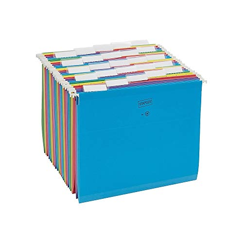 - Staples 813110 Reinforced Hanging File Folders 5-Tab Letter Size Asst. Colors 25/Bx