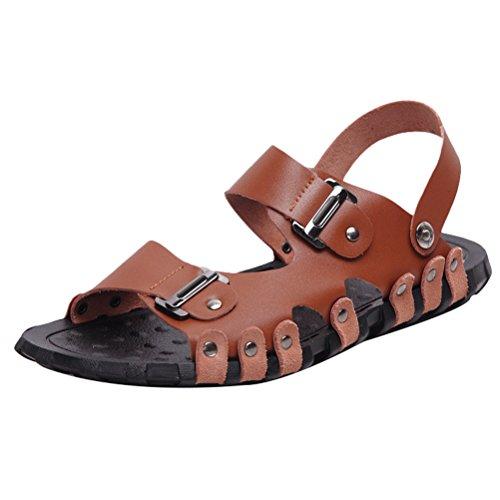 Estate Marrone Mallimoda Infradito Pelle 1 Spiaggia Stile Casual Uomo Sandal Scarpe 5pfvwq