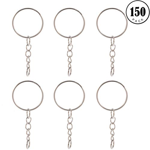 Jumper Ring - Key Ring, 150pcs Split Key Chain Ring with Chain and Jumper in Bulk for DIY Accessories Art Crafts 25mm Silver