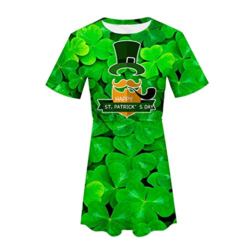 iFOMO Irish National Day Ceremony Round Neck Short Sleeve Letters Print Dress for Women Green-6 L