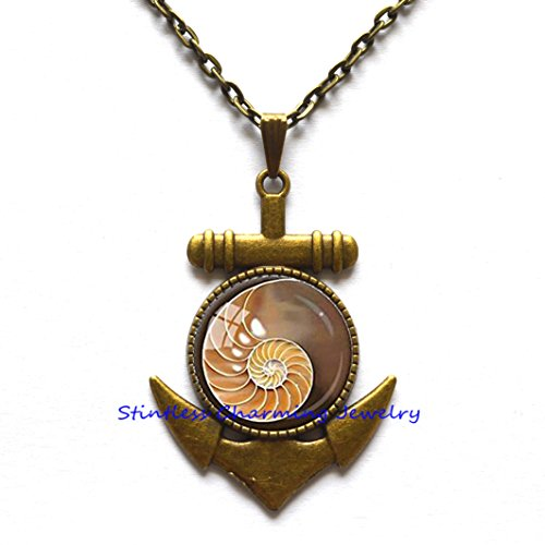 Fibonacci Spiral Pendant Chambered Nautilus Anchor Necklace Sacred Geometry Jewelry Brown Yellow Shell Anchor Necklace Shell Jewelry Fibonacci (Genuine Beach Glass Necklace)