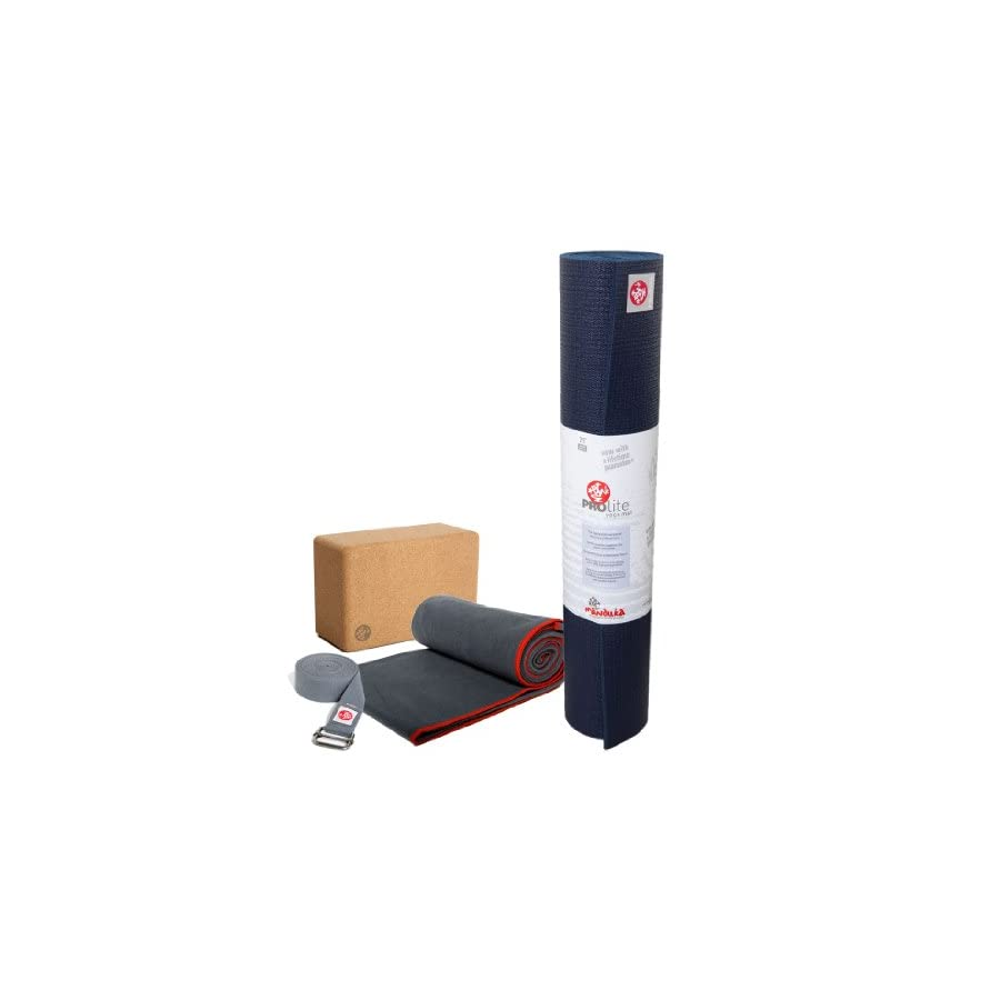 Manduka PROlite Yoga Mat (Midnight), eQua Yoga Mat Towel (Thunder) & Cork Block Set
