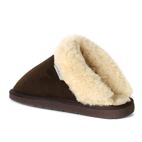 Stellar Womens Original Fur Trim Winter Warm Indoor Comfy Slip On Mule Clog Slippers Brown 5U7jy